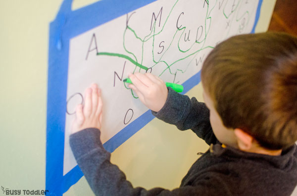 ALPHABET DOT-TO-DOT: Make an easy alphabet activity with only two supplies; a great preschool literacy activity; letter of the week activity; preschool learning activity; indoor activity from Busy Toddler