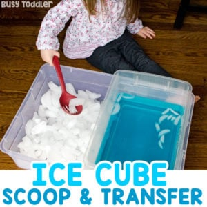 ICE BIN TRANSFER: What a fun sensory activity! A great toddler activity; an easy preschool activity; indoor toddler activity; outdoor summer activity for toddlers and preschoolers; sensory activity for toddlers; fine motor skills activity for toddlers from Busy Toddler
