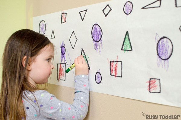 FIND THE SHAPES: A great toddler shapes activity; math activity; easy shapes activity; learning activity; preschool math activity from Busy Toddler