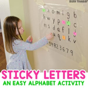 STICKY LETTERS: A quick and easy literacy activity; easy alphabet activity; easy learning activity; preschool abcs; learning the alphabet; learning the abcs with Busy Toddler