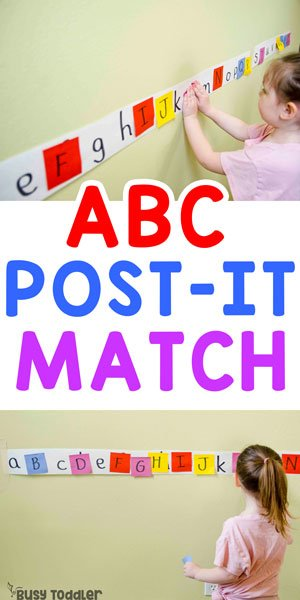 POST-IT MATCH:  A quick and easy toddler alphabet activity; a preschool alphabet activity; easy indoor activity; fun rainy day activity from Busy Toddler