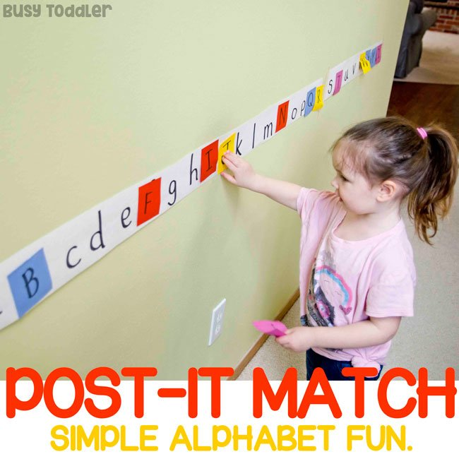 Easy Alphabet Activity: Post-It Match - Busy Toddler