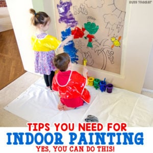 INDOOR PAINTING ACTIVITIES: Yes! You can paint inside with your kids. Here are my tips and tricks for making indoor painting activities a total breeze. Check out these indoor painting tips, inside painting activities; art with toddlers; art with preschools from Busy Toddler