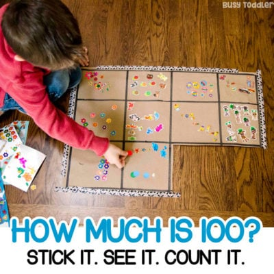 100 COUNTING ACTIVITY; A quick and easy math activity; preschool math; kindergarten math; number sense; one hundreds activity; how many activity from Busy Toddler