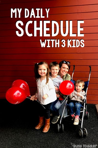 MY DAILY ROUTINE WITH TODDLERS: Here's what my day looks like with 3 kids at home; stay at home mom schedule; three kids schedule; toddler daily schedule; family daily schedule; easy SAHM schedule; perfect daily schedule from Busy Toddler