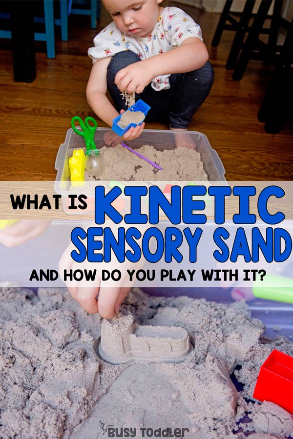 WHAT IS KINETIC SENSORY SAND? The coolest sensory base - this is a must try! An easy indoor activity; a fun sensory activity for toddler; preschool sensory bin; easy kids activity; quick and easy toddler activities; preschool fun from Busy Toddler (sponsored by Lakeshore Learning)