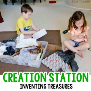 CREATION STATION: Making treasures from trash. Easy indoor activity; recycled activity; preschool STEM activity; toddler STEM activity; quick and easy activity; working with recyclables; kids activity; rainy day activity; recycled sensory bin activity from Busy Toddler