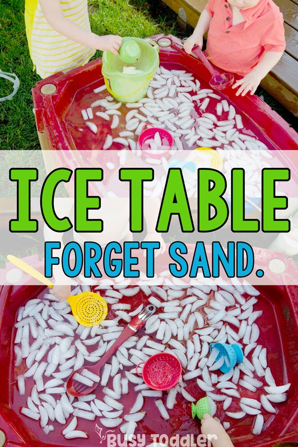ICE TABLE SENSORY BIN: Who needs sand? Try adding ice to your sand table. Ice activity. Summer activity. Summer toddler. Summer preschool. Easy water and ice activities. Outdoor activities. Backyard activities. Summer fun from Busy Toddler
