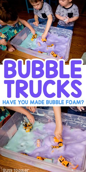 BUBBLE TRUCKS: Have you made bubble foam yet? A quick and easy sensory activity; fun activity for toddlers; toddler activity; easy kids activity from Busy Toddler
