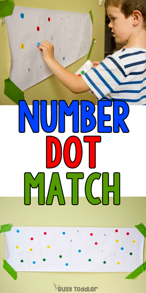 NUMBER DOT MATCH:  A quick and easy preschool math activity; check out this easy indoor activity for preschoolers; dot stickers activity; number identification activity; numbers activity; preschool numbers from Busy Toddler