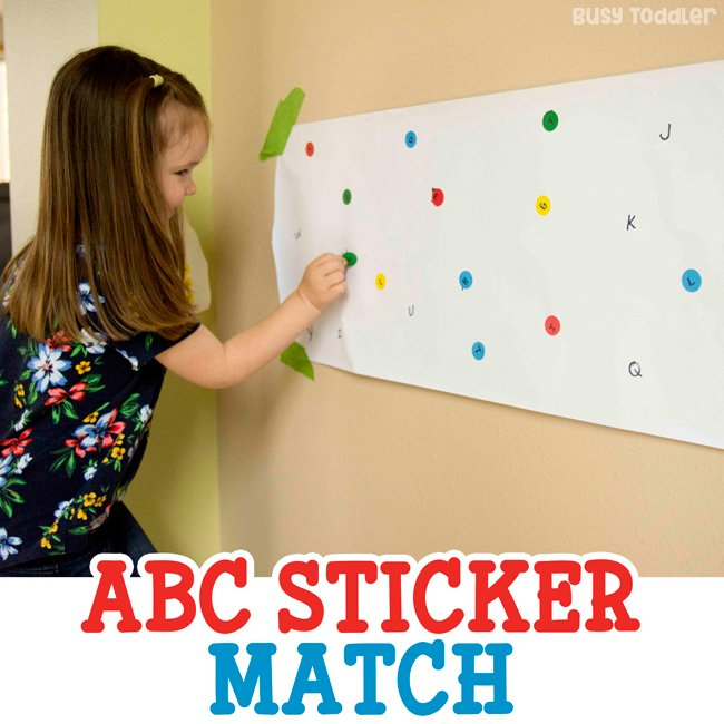 ABC STICKER MATCH:  Check out this amazing dot stickers activity; easy dot stickers activity; learning activities; alphabet activities; abc activities for toddlers; alphabet activities for preschoolers; easy indoor activity from Busy Toddler