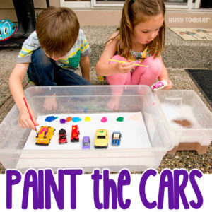 PAINT THE CARS - A quick and easy kids art activity; toddler art; preschool art; outdoor art; painting toys; easy activity from Busy Toddler