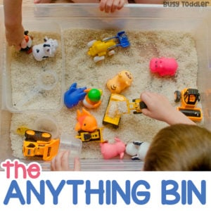 THE ANYTHING BIN: Sensory bins don't have to be pretty to be awesome; sensory bin for toddlers; toddler indoor activity; toddler learning activity; toddler sensory play from Busy Toddler