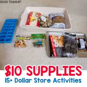DOLLAR STORE ACTIVITY SUPPLIES: What should you buy at the dollar store? Here are 15+ kids activities you can make with just supplies from the dollar store; easy indoor activities; sensory bin activities; sorting activities; math activities for preschoolers from Busy Toddler