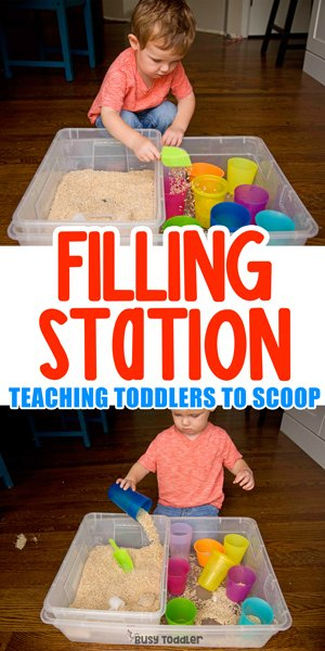 FILL IT UP STATION: Make a fun filling station for toddlers; taby activity; indoor taby activities; easy toddler activities; sensory bins; life skills; montessori life skills; teaching scooping by Busy Toddler