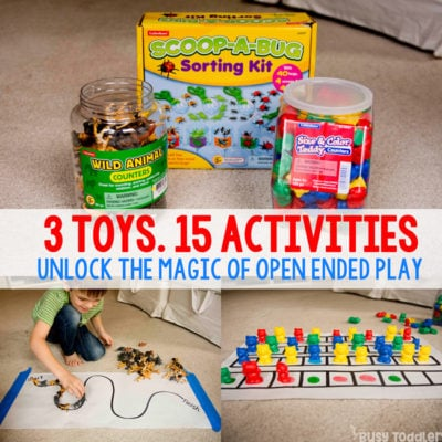 OPEN-ENDED TOYS AND ACTIVITIES: Take 3 toys and see how to turn them into 15 activities. Toys for activities, open ended toys, easy indoor activities; Lakeshore Learning toys; (sponsored) Busy Toddler