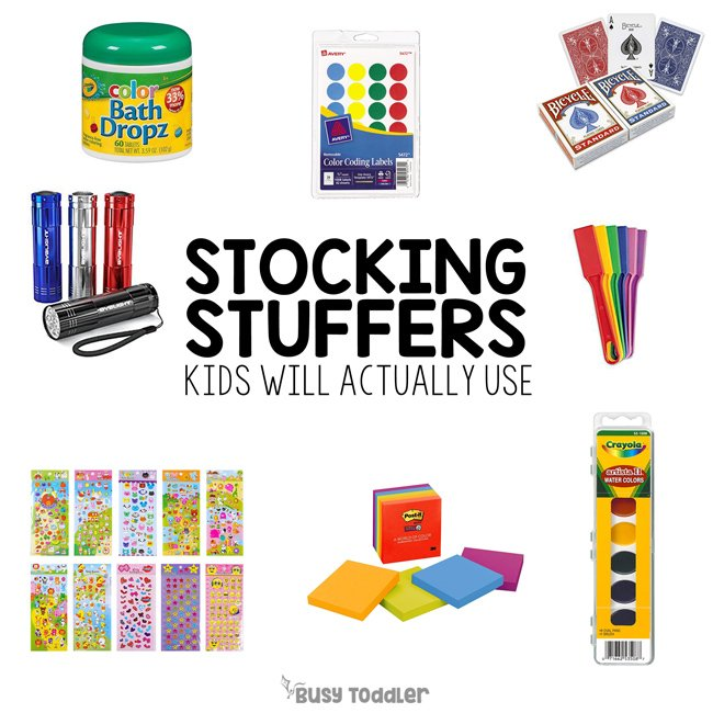 BEST STOCKING STUFFERS FOR KIDS: What are usable items for toddler stockings? Check out these easy activity supplies and toys to add to a kids stocking (ideas from Busy Toddler)