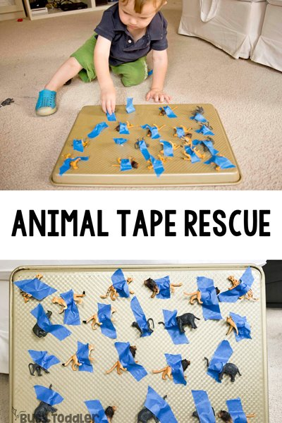 ANIMAL TAPE RESCUE - A quick and easy toddler activity; taby activity; taby activities; easy activity for one year old; baby activity; airplane ride activity; animal activity; rainy day activity; easy indoor activity from Busy Toddler