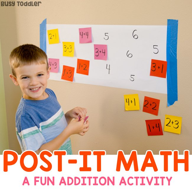 Post-It Math Activity For Teaching Addition - Busy Toddler Preschoollearning - Education