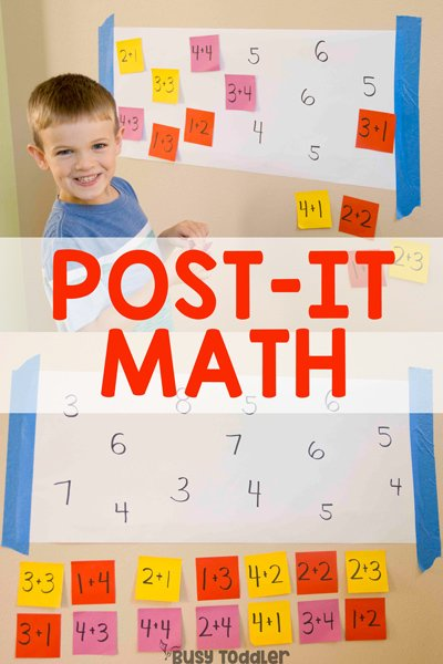 POST-IT MATH ACTIVITY - Quick and easy math activity; addition facts; fact families; math problems; learning about addition; hands-on math lesson; learning to add from Busy Toddler