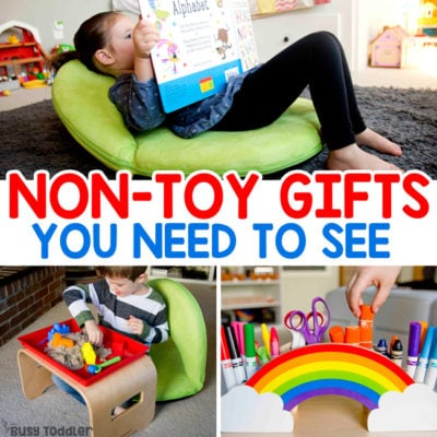 NON-TOY GIFTS: Looking for the perfect gifts for birthdays and holidays - check out these non-toy gifts from Lakeshore Learning. Your preschooler and school-aged kids will love these gifts! Flexible seating for at home use; homeschool flexible seating; gifts for growing minds; holiday gift ideas from Busy Toddler (ad)