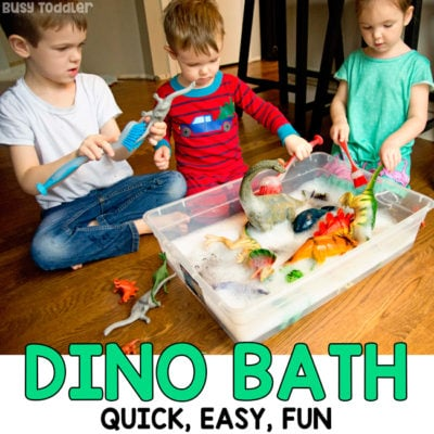 DINOSAUR BATH - A quick and easy sensory activity; toddler activity; preschool activity; indoor activity; car wash activity; rainy day activity; sensory bin activity from Busy Toddler
