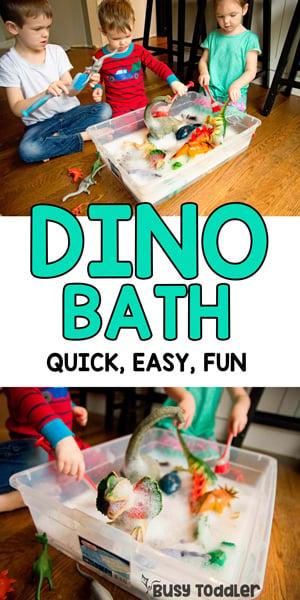 DINOSAUR BATH - A quick and easy sensory activity; toddler activity; preschool activity; indoor activity; car wash activity; rainy day activity; sensory bin activity from Busy Toddler