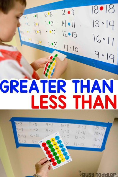 GREATER THAN LESS THAN: A quick and easy activity for working on number value; introducing greater than; introducing less than; preschool math activity; kindergarten math activity; first grade math activity from Busy Toddler