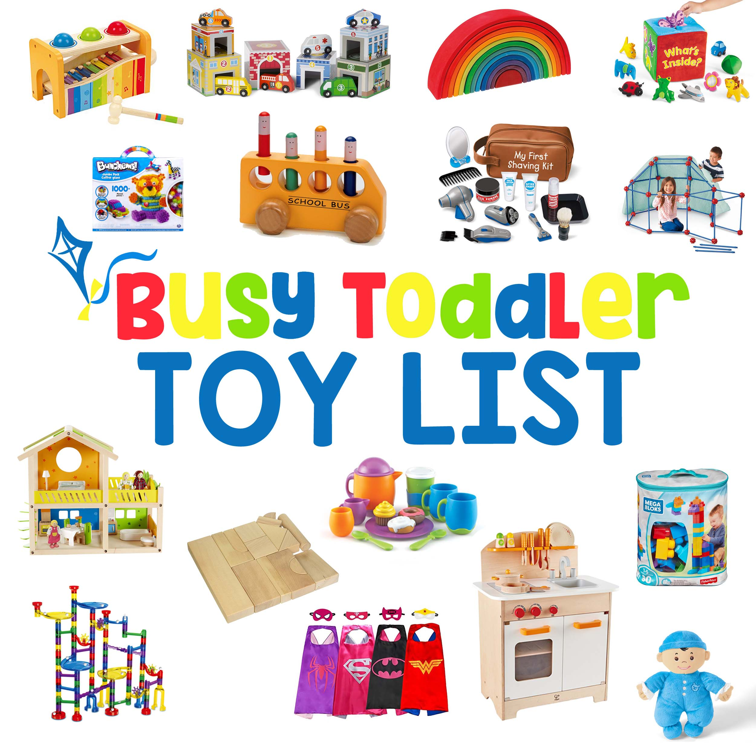 BEST TOYS FOR TODDLERS: Here it is - the most complete list of open ended toys for kids; best toys for one year olds; best toys for toddlers; best toys for preschoolers; best toys for five year old; open-ended toys; good toys; holiday gift guide; Christmas gifts for kids from Busy Toddler