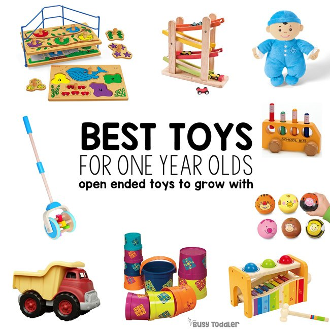 BEST TOYS FOR ONE YEAR OLDS: Here it is - the most complete list of open ended toys for kids; best toys for one year olds; best toys for toddlers; best toys for preschoolers; best toys for five year old; open-ended toys; good toys; holiday gift guide; Christmas gifts for kids from Busy Toddler