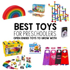 BEST TOYS FOR PRESCHOOLERS: Here it is - the most complete list of open ended toys for kids; best toys for one year olds; best toys for toddlers; best toys for preschoolers; best toys for five year old; open-ended toys; good toys; holiday gift guide; Christmas gifts for kids from Busy Toddler