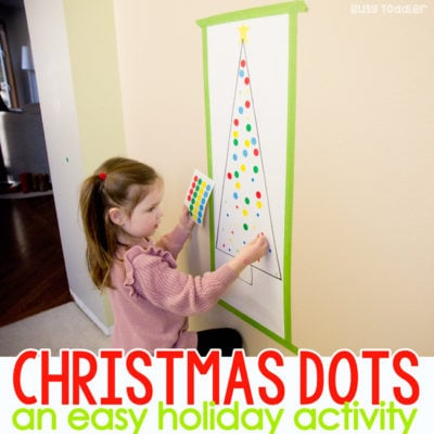 CHRISTMAS DOT STICKER TREES: Looking for a quick and easy Christmas activity? Try these Christmas trees with dot stickers. A quick and easy indoor activity; toddler christmas activity; preschool christmas activity; easy activity from Busy Toddler