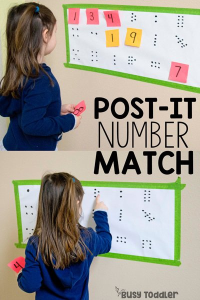 POST-IT NUMBER MATCH: A quick and easy math activity; math activity for preschool; preschooler math; toddler math; easy toddler activity; homeschool math activit; number sense activity; indoor activity from Busy Toddler