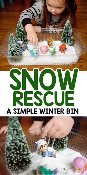WINTER SENSORY BIN: Check out this awesome winter sensory bin idea from Busy Toddler; a quick and easy sensory bin; indoor winter activity; easy rainy day activity; preschool activity; paw patrol activity from Busy Toddler