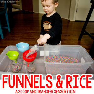 FUNNELS AND RICE: A quick and easy toddler activity; a toddler sensory bin; a great indoor activity for toddlers; rainy day activity; rainbow rice activity from Busy Toddler