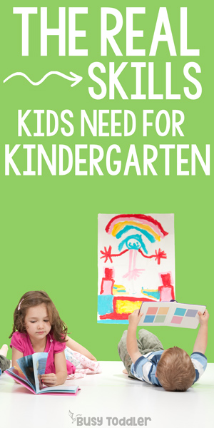 KINDERGARTEN READINESS: What skills do kids need before kindergarten? Starting kindergarten; first day of kindergarten; getting kids ready for kindergarten; social skills in kindergarten from Busy Toddler