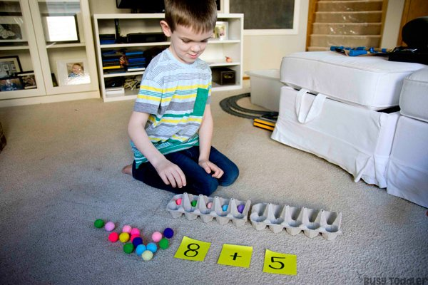 HANDS-ON ADDITION: How do you teach addition to kids? Kindergarten math activity; first grade math activity; learning number sense hands-on; developing math skills; easy learning activity from Busy Toddler