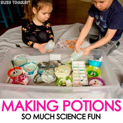 MAKING POTIONS: A fun and messy kids activity; kids potion making activity; science activity; STEM activity; science experiment activity for kids; kids science play; easy indoor activity; fun sensory bin activity from Busy Toddler
