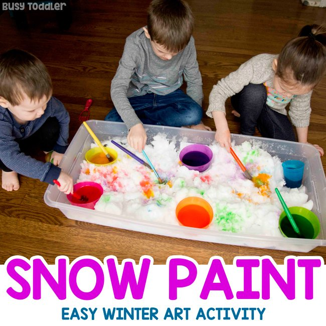 PAINT SNOW: A quick and easy winter activity for kids; painting snow with kids; toddler snow day; preschool snow day; easy indoor snow activity; snow art activity by Busy Toddler