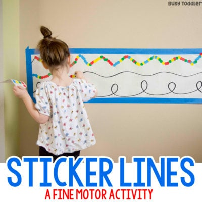 STICKER LINES: A quick and easy fine motor skill activity; easy toddler activity; easy preschool activity; dot sticker activity; indoor activity; rainy day activity; fine motor activity from Busy Toddler