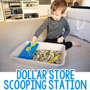 DOLLAR STORE SCOOPING STATION: Kids activities from the dollar store; dollar store activities; toddler activities; toddler sensory bins; easy toddler activities; toddler fun; indoor activity; rainy day activities, quick and easy kids activities; montessori activities from Busy Toddler