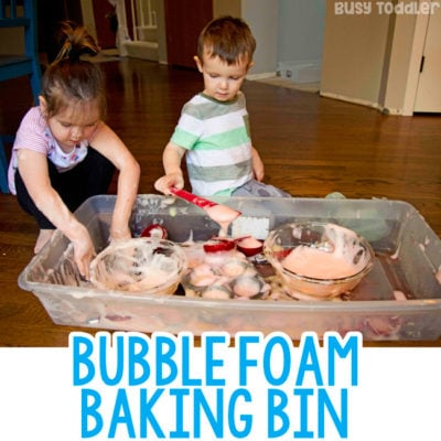 BUBBLE FOAM BAKING BIN: A quick and easy toddler activity; a fun preschool activity; preschool sensory; toddler activity; indoor activity; sensory bin; making foam with kids; dramatic play; invitation to play; play-based learning from Busy Toddler