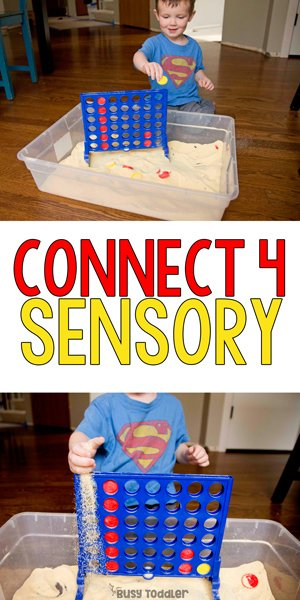 CONNECT 4 SENSORY BIN: A quick and easy toddler activity; toddler sensory bin; sensory activity; preschool activity; preschool fun; rainy day activity from Busy Toddler