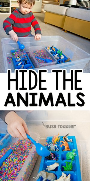 HIDE THE ANIMALS: A quick and easy sensory bin activity; sensory learning for toddlers; toddler activity; quick and easy toddler activity; rainy day activity; rainbow rice activity from Busy Toddler