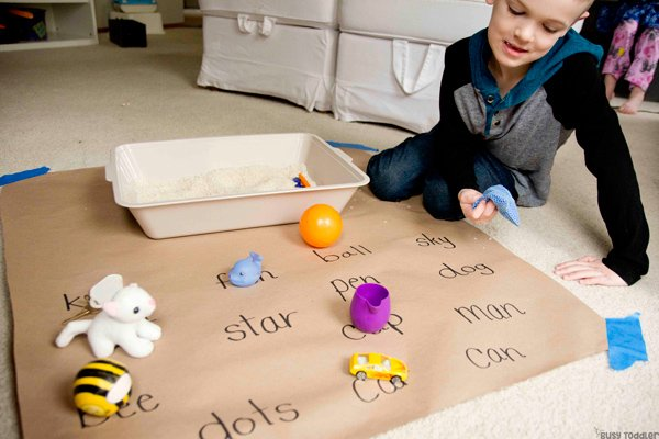 MATCHING OBJECTS: A Hands-On Reading activity from Busy Toddler; decoding words; phonics activity; kindergarten reading activity; first grade reading activity; easy learning activity for kindergarteners from Busy Toddler