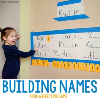 BUILDING NAMES LEARNING ACTIVITY: A quick and easy learning activity for preschoolers; name recognition activity; spelling activity; sight words activity; play based learning activity; quick activity; move and learn activity from Busy Toddler
