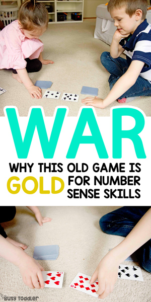 WAR BATTLE COMPARE: The classic kids card game is full of important number sense and life skills that we need to be teaching our children. Have you played WAR yet with your preschooler or busy big kid? A quick and easy math activity; number sense activity from Busy Toddler