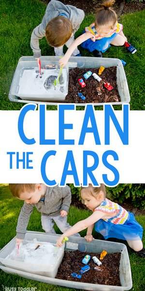 CLEAN THE CARS: The ultimate summer activity; best outdoor activity for toddler; best summer activity for preschoolers; washing station; montessori washing activity; summer fun; water play activity from Busy Toddler