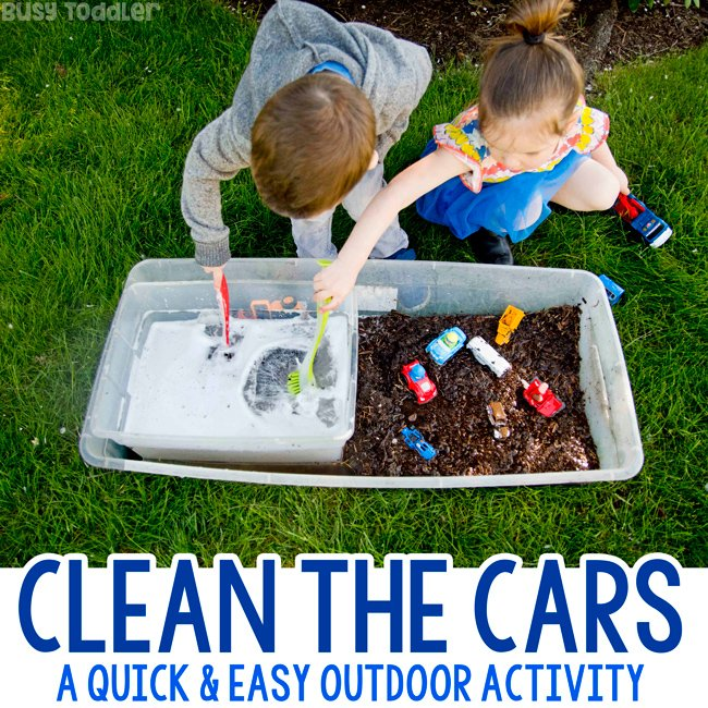 Clean The Cars Summer Outdoor Sensory