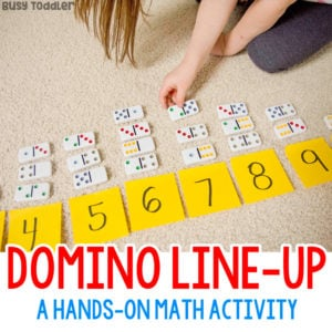 DOMINO LINE-UP: Grab out those dominos for this quick and easy preschool math activity; number sense activity; addition activity; hands-on math activity; easy math activity from Busy Toddler